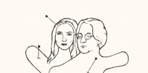 Voodoopoppetjes in de modellen Jessica Durlacher en Leon de Winter